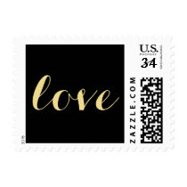 Love Black Faux Gold Valentines Day Wedding Stamp