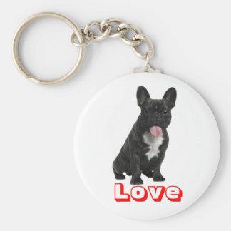 Love  Black French Bulldog Puppy Dog Keychain