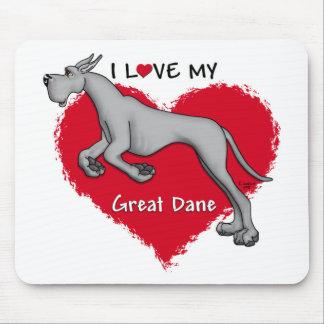 Love Black Great Dane Mouse Pad