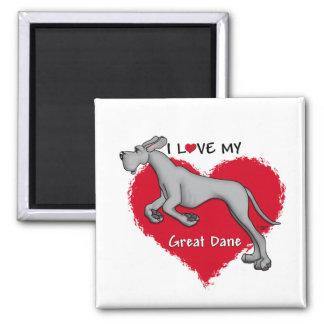 Love Black Great Dane UC Fridge Magnet