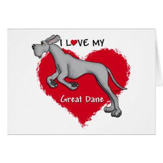 Love Black Great Dane UC Greeting Cards