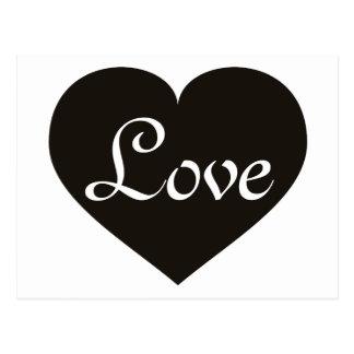 Love black heart postcard