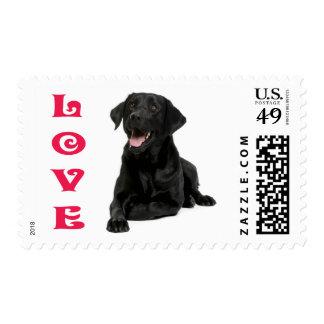 Love Black Labrador Retriever Puppy Dog Postage Stamps