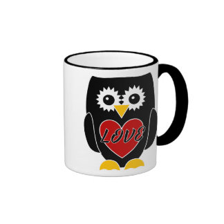 Love -  Black Owl with Red Heart Mug