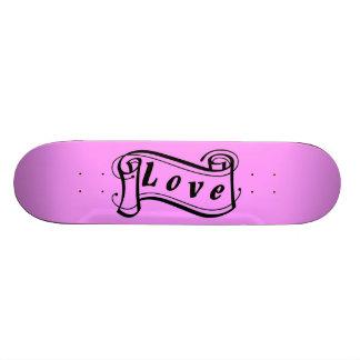 Love black pink scroll Fantasy kind - Skateboard Deck