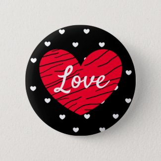 Love Black, Red and White Hearts Button