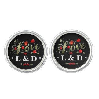 LOVE Black & Red Roses Matching Wedding Initials Cufflinks