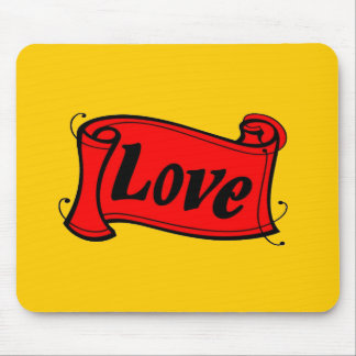 Love black red writing volume mouse pad