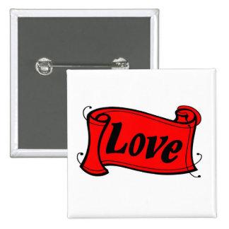 Love black red writing volume pinback button