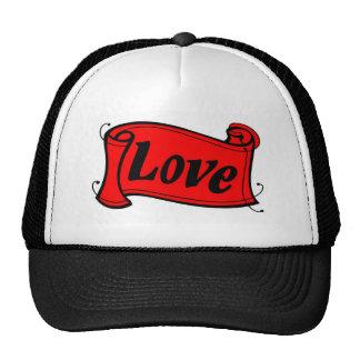 Love black red writing volume trucker hat