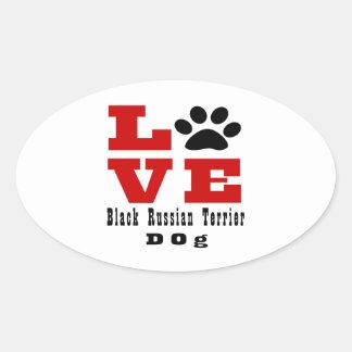Love Black Russian Terrier Dog Designes Oval Sticker
