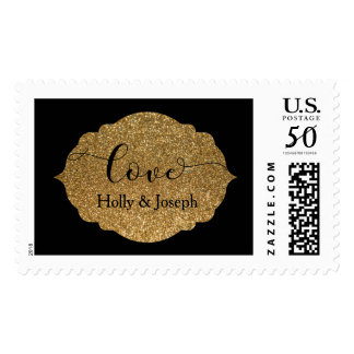 """Love"" Black w/ Gold Glitter, Personalized 19c Postage"