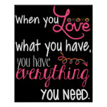 "Love Black White and Pink Poster 20"" x 16"""
