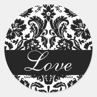 Love Black & White Damask Wedding Sticker