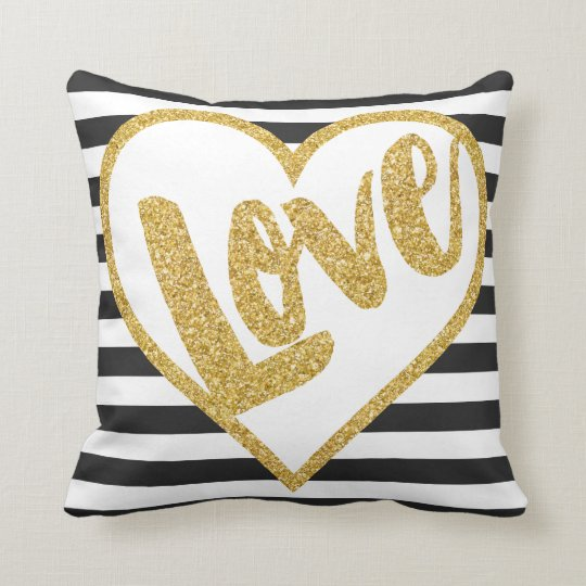 love black white gold glitter stripes throw pillow With black white and gold decorative pillows