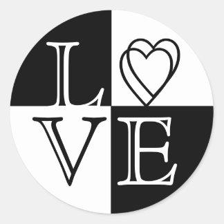 Love Black & White Hearts Wedding Sticker