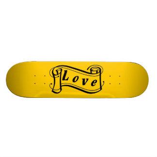 Love black yellow scroll Fantasy kind - Skateboard Deck