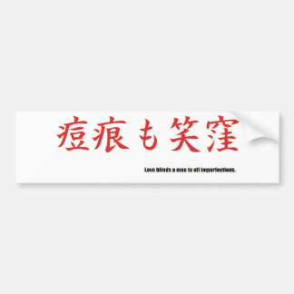Love blinds a man to all imperfections. car bumper sticker