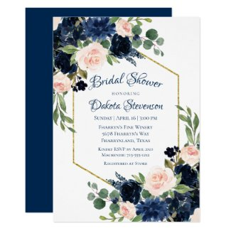 Love Bloom | Chic Blush Navy Floral Bridal Shower Invitation