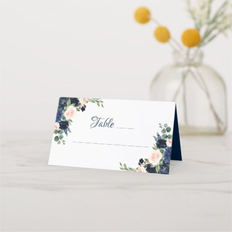Love Bloom | Chic Blush Pink Navy Blue Floral Place Card