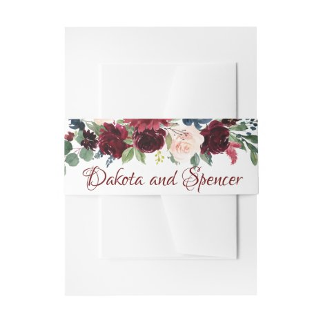 Love Bloom | Elegant Burgundy Marsala Floral Invitation Belly Band