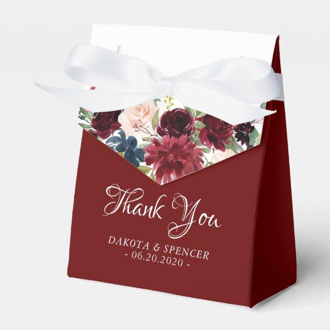 Love Bloom | Elegant Burgundy Marsala Garland Favor Box
