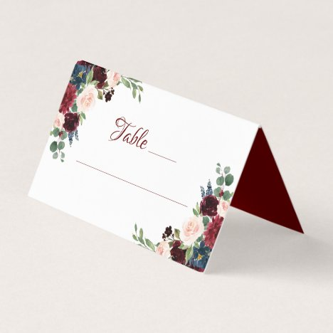Love Bloom | Elegant Burgundy Marsala Garland Place Card