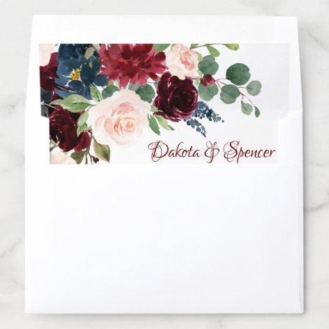 Love Bloom | Elegant Burgundy Marsala Wedding Envelope Liner