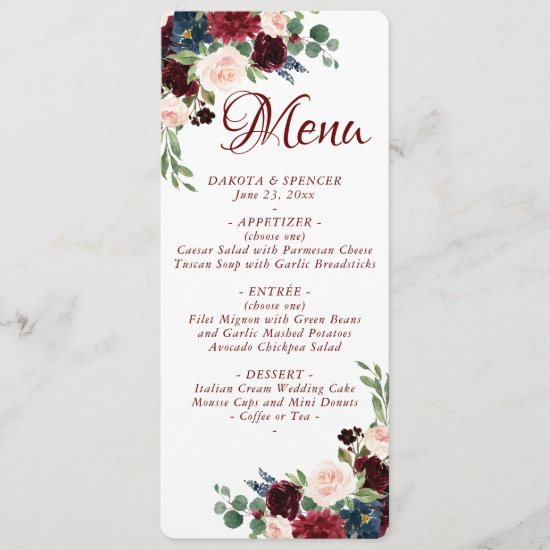 Love Bloom | Elegant Burgundy Marsala Wedding Menu