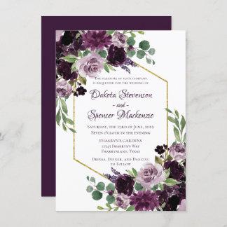 Love Bloom | Moody Dramatic Passion Purple Bouquet Invitation
