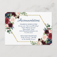 Love Bloom | Rustic Navy Burgundy Accommodations Enclosure Card
