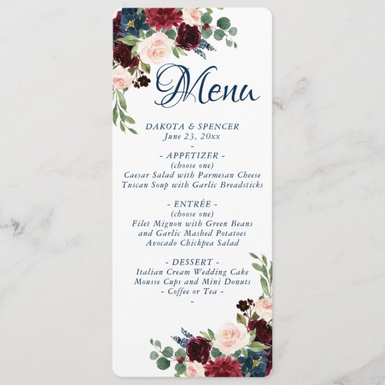Love Bloom | Rustic Navy Burgundy Floral Wedding Menu