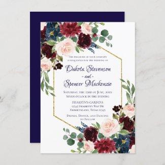 Rustic Navy Burgundy Wedding Invitation