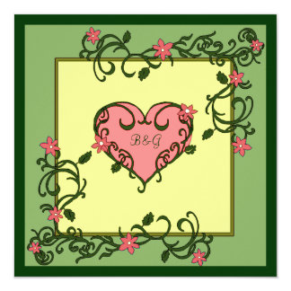 Love Blooms Green Wedding 5.25x5.25 Square Paper Invitation Card