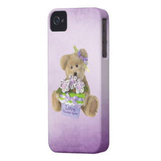 Love Blooms Here Cute Teddy Bear & Flowers in Pot Case-Mate iPhone 4 Cases