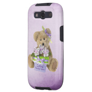 Love Blooms Here Cute Teddy Bear & Flowers in Pot Galaxy SIII Covers