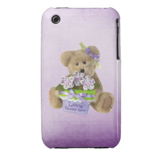 Love Blooms Here Cute Teddy Bear Flowers in Pot iPhone 3 Covers