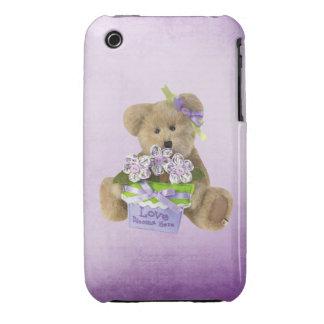 Love Blooms Here Cute Teddy Bear & Flowers in Pot iPhone 3 Case-Mate Case