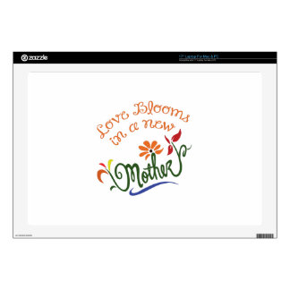 "LOVE BLOOMS IN NEW MOTHER DECAL FOR 17"" LAPTOP"