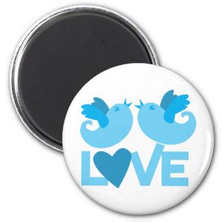 LOVE blue birds 2 Inch Round Magnet