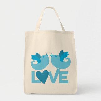 LOVE blue birds Tote Bag
