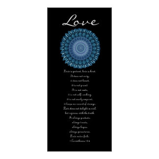 Love - Blue Daisy Wreath - First Corinthians Poster