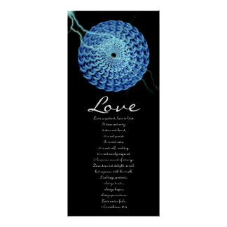 Love - Blue Rose Wreath with Lightening Posters