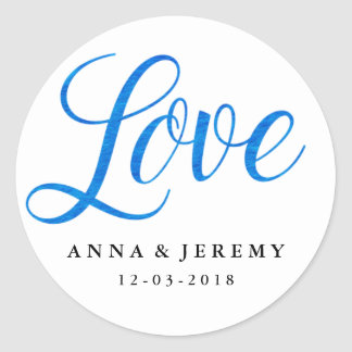 Love Blue Watercolor Wedding Sticker