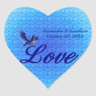 Love Bluebird Heart Wedding Sticker