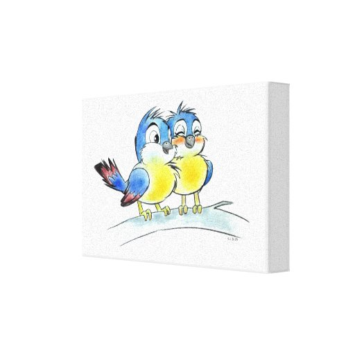Love bluebirds stretched canvas prints
