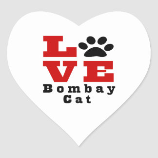 Love Bombay Cat Designes Heart Sticker