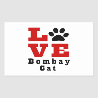 Love Bombay Cat Designes Rectangular Sticker