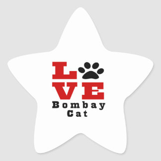 Love Bombay Cat Designes Star Sticker