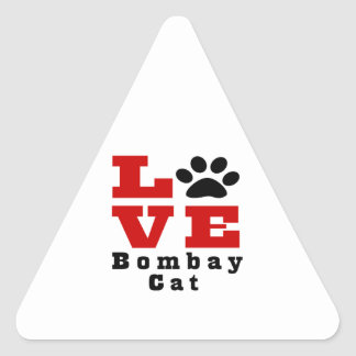 Love Bombay Cat Designes Triangle Sticker